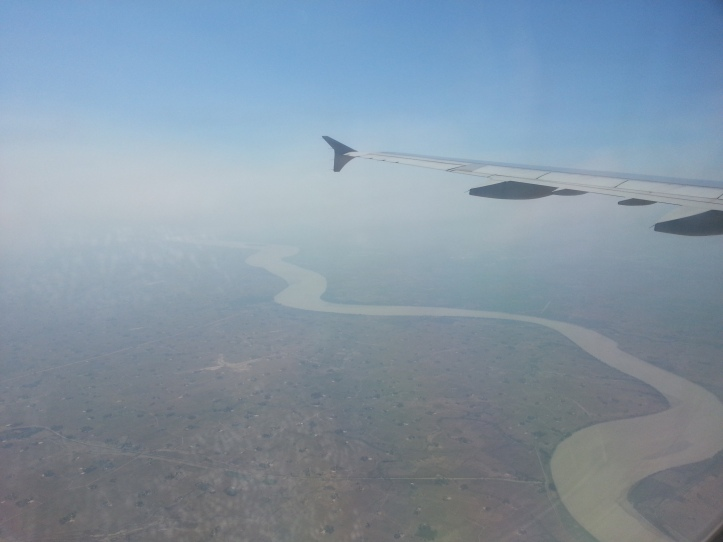 Aerial view of Yangon from my airplane seat