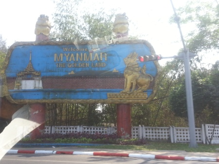 Welcome Sign in Yangon, Myanmar (Burma)