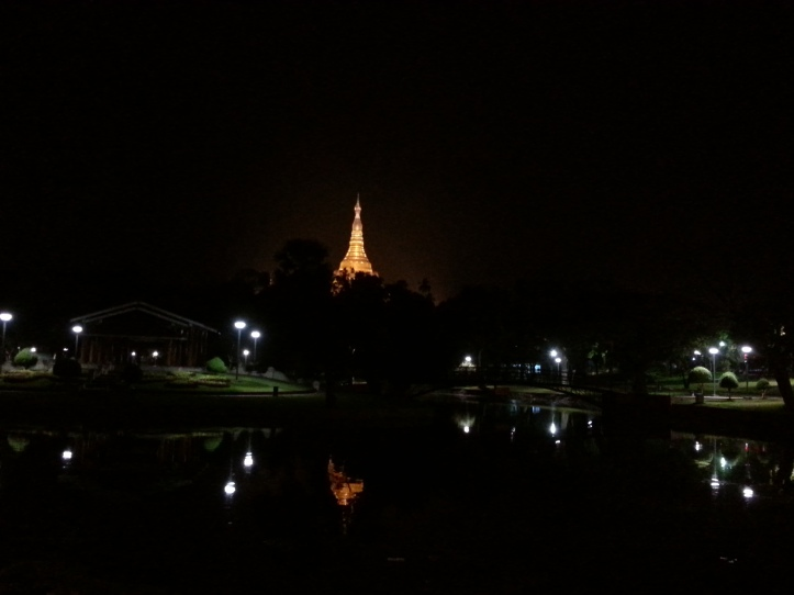 View of ShweDaGon Paya (Pagoda) at night from Golden duck restaurant