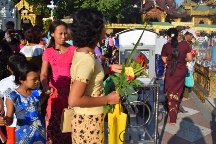 Flowers offering by local visitors