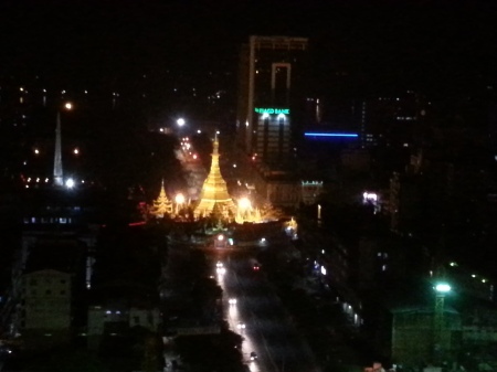 ShweDaGon Paya (Pagoda) at night from Sakura tower 1